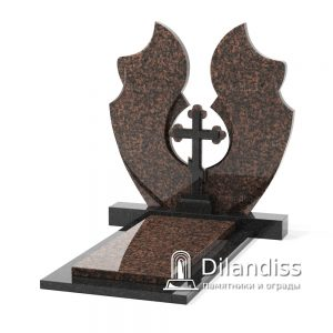 вертикальный памятник с крестом резка с крыльями дымовский