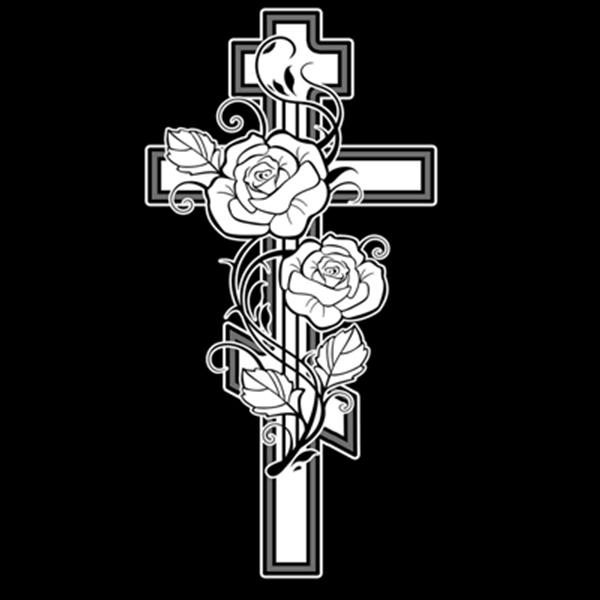 крестик с цветком гравировка