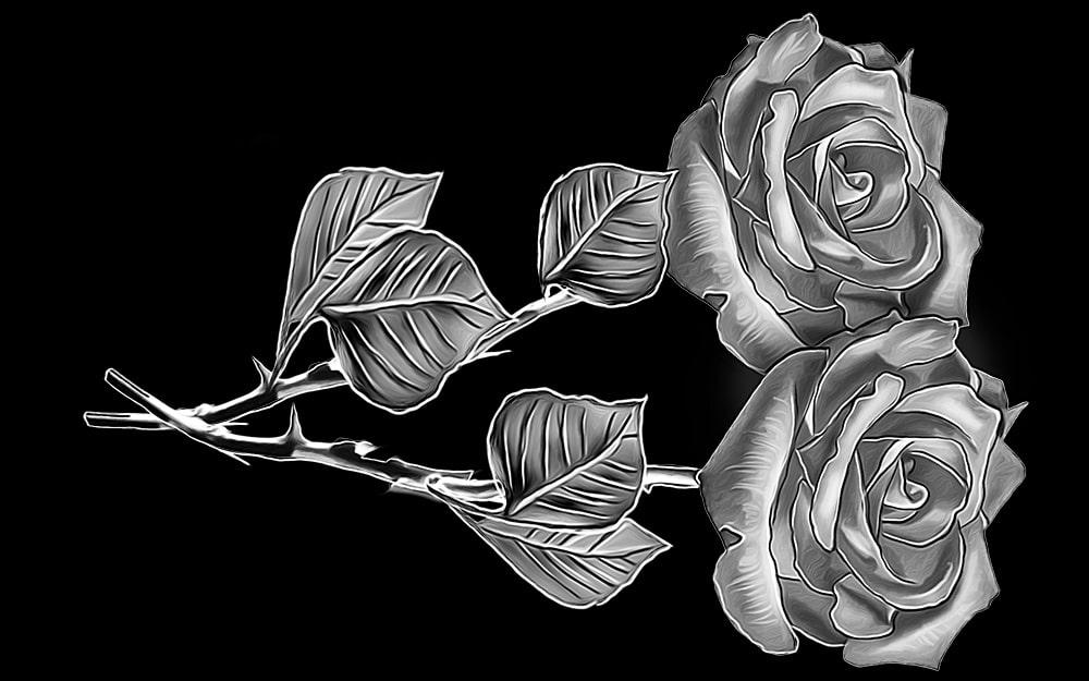 гравировка розы на вертикальный памятник