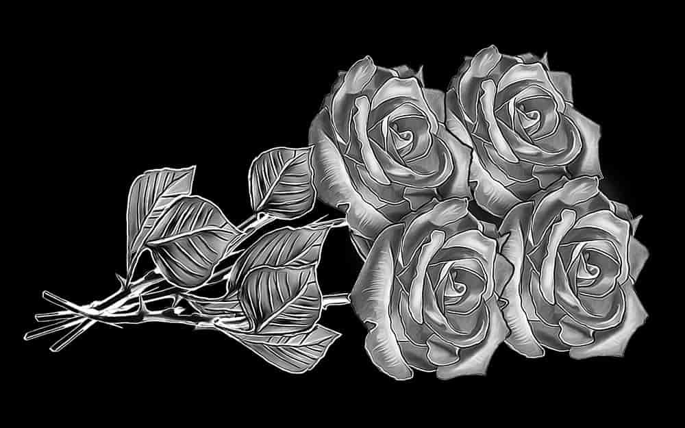 гравировка розы на горизонтальный памятник
