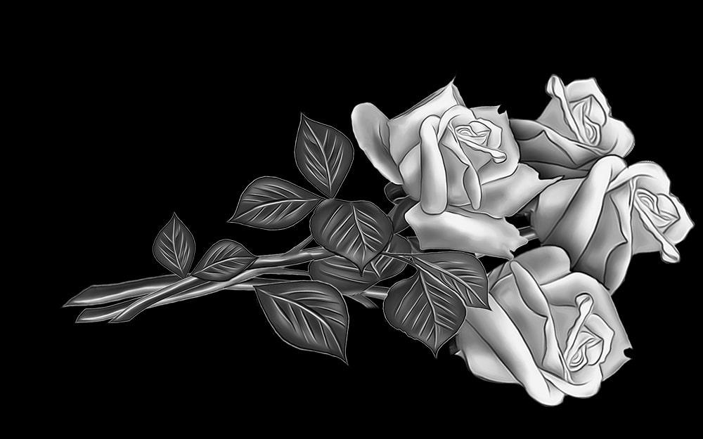 гравировка розы 4 бутона