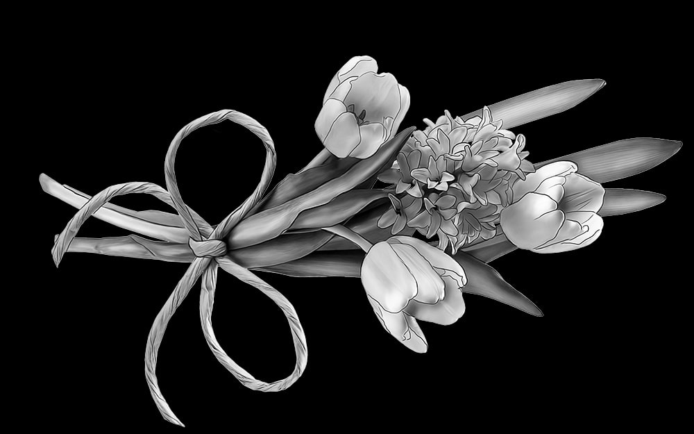 гравировка на камне тюльпан